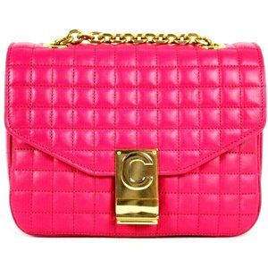 CELINE $2,800 NWT Fuchsia Pink Quilted Leather Bag